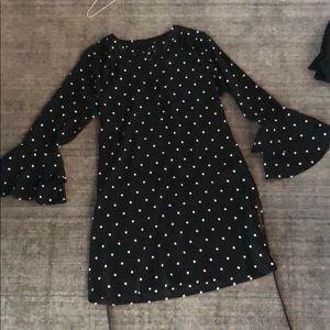 Loft polka dot dress w bell sleeve